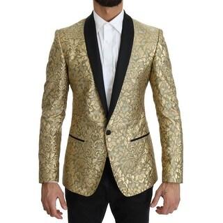 Dolce & Gabbana Gold Jacquard Silk MARTINI Blazer