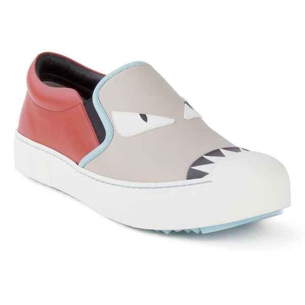 d644176a6ec7 Shop Fendi Women s Leather Embellished Slip-On Sneaker Shoes Red ...