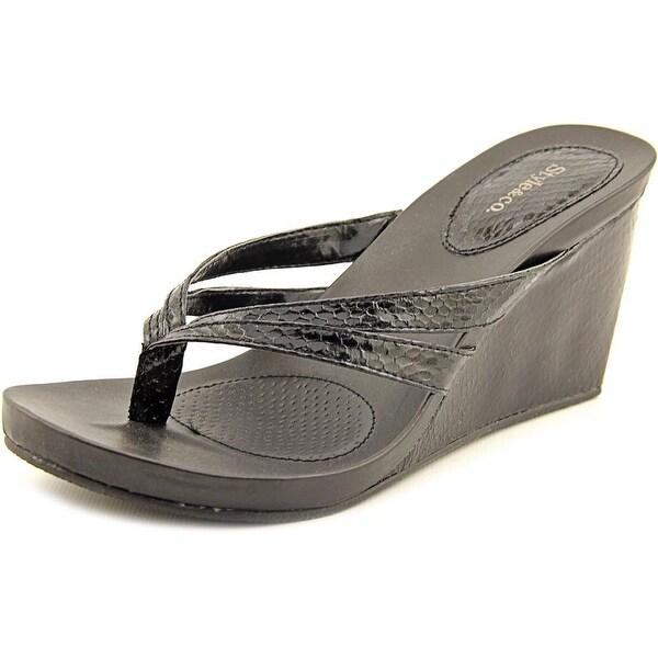 Style & Co Cassiee Women Open Toe Leather Black Wedge Sandal