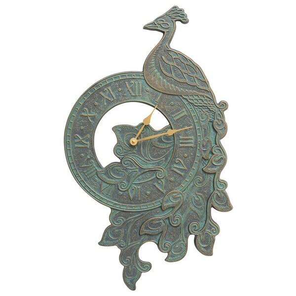 Whitehall Peacock Indoor Outdoor Wall Clock (Bronze Verdigris) - bronze verdigris