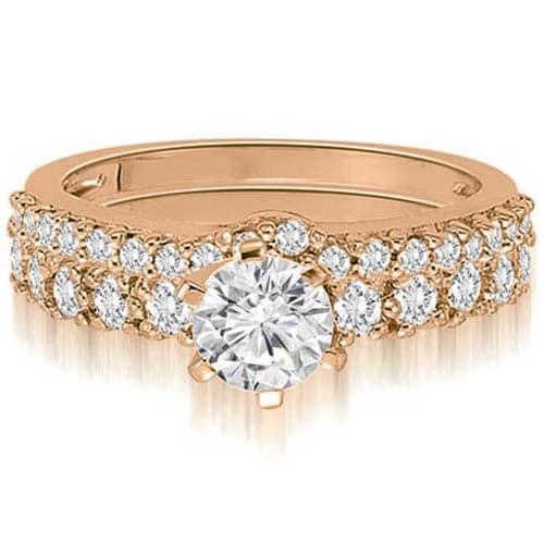 1.90 cttw. 14K Rose Gold Classic Basket Round Cut Diamond Bridal Set