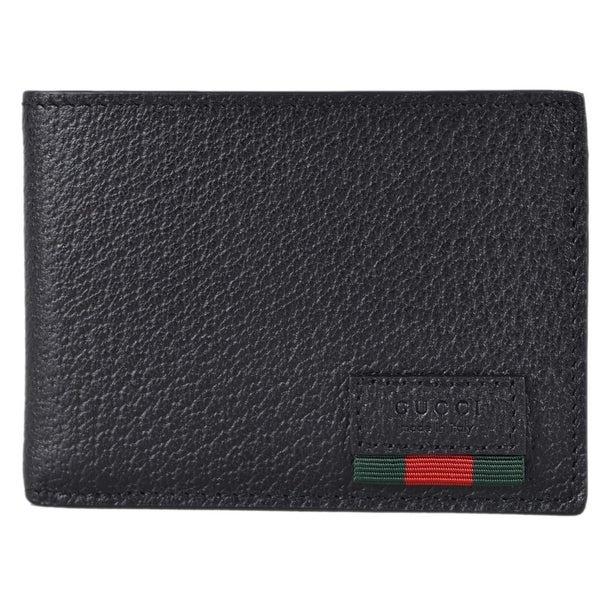 2d68b1d30fbc Gucci Men's Black Leather Red Green Web Stripe Tab Mini Bifold Wallet