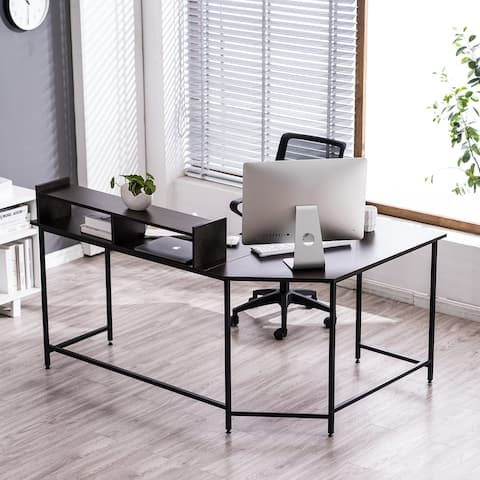 Ivinta L-Shaped Desk Computer Desk with Monitor Stand Gaming Desk Home Office Table