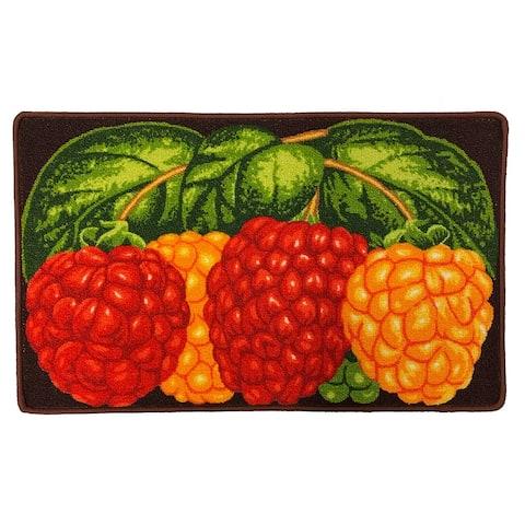 Three Raspberry Printed Skid Resistant Decorative Kitchen Rug, Multi, 18x30 Inches