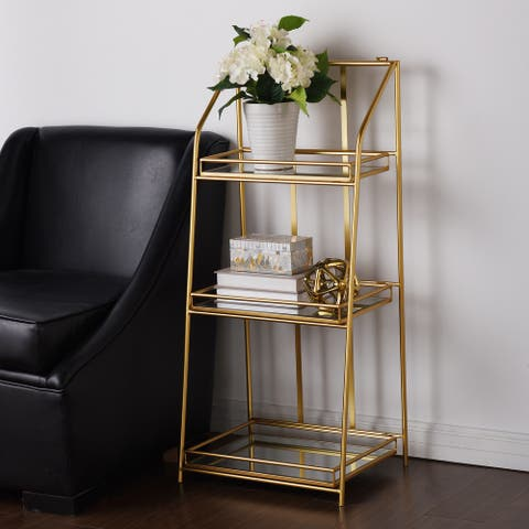 StyleCraft Gold Rectangular Three-Tier Metal Shelf with Mirrored Shelves