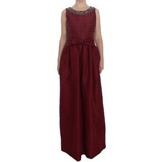 Dolce & Gabbana Dolce & Gabbana Bordeaux Crystal Ball Gown Full Dress - it44-l
