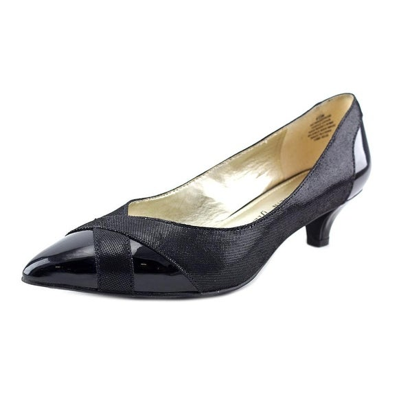 Anne Klein AK Maddy Rose Women Pointed Toe Canvas Black Heels