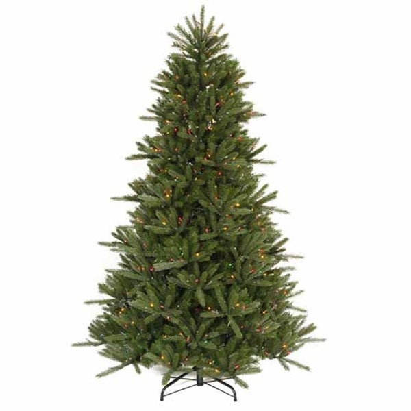 7.5' Pre-Lit Vermont Fir Instant Shape Artificial Christmas Tree - Multi Lights - green