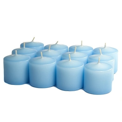 3 Boxes of Unscented Light Blue Votives 10 Hour Votive Candles Pack: 12 per box 1.5 in. diameter x 1.25 in. tall
