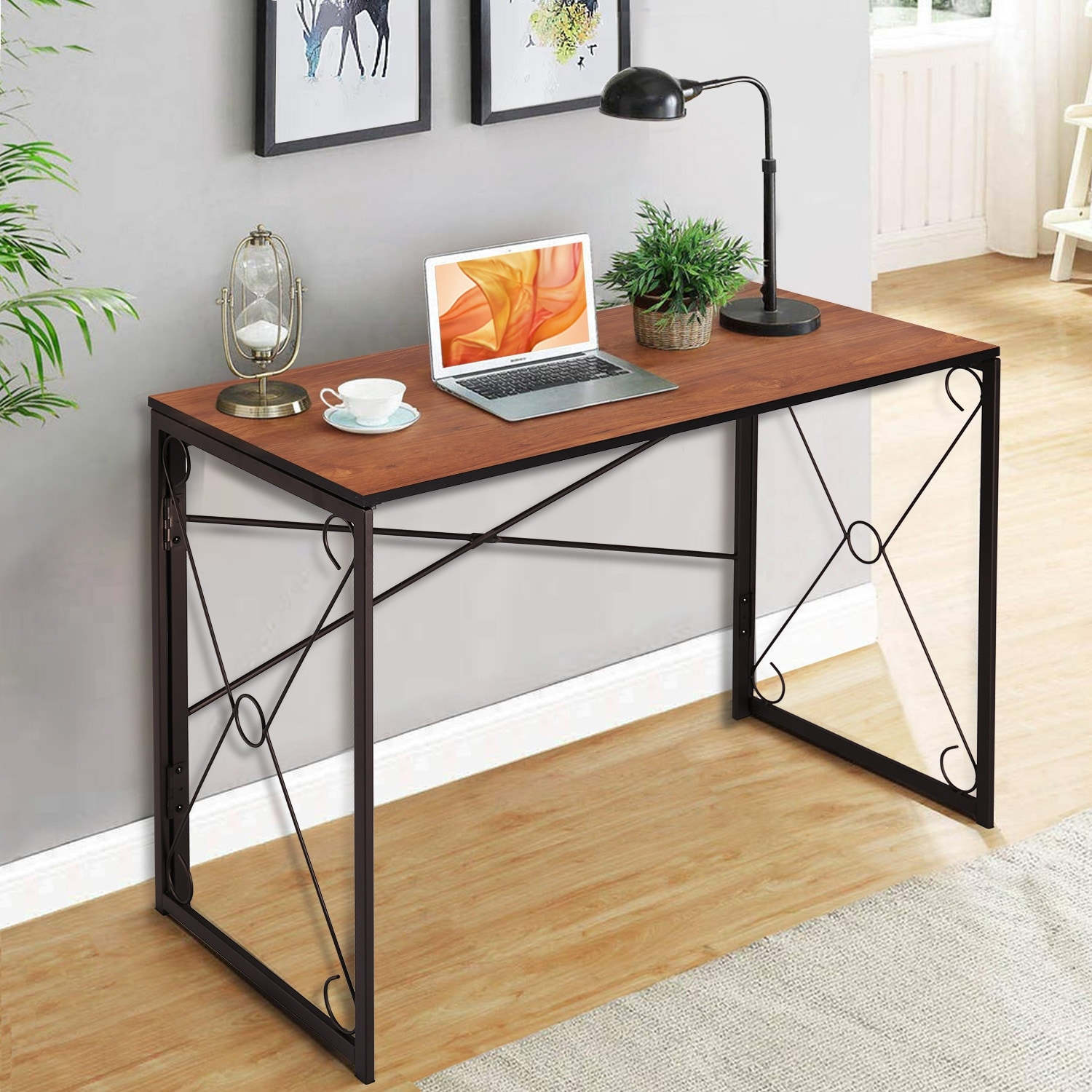 VECELO Folding Computer Desk Home Office Writing Laptop Table