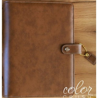 """Color Crush A5 Faux Leather 6-Ring Planner Binder 7.5""""X10""""-Walnut"""