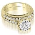 1.00 cttw. 14K Yellow Gold Cathedral Milgrain Round Cut Diamond Bridal Set - Thumbnail 0