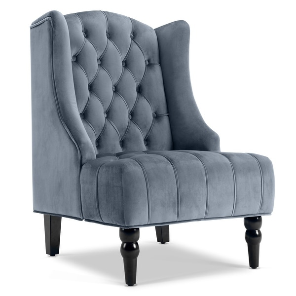 Genial Belleze Modern Wingback Tufted NailHead Accent Chair Linen Tall Back Fabric  Wing Chair, Gray
