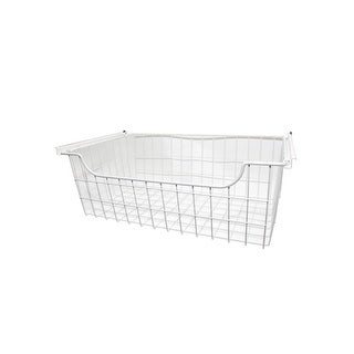 """Easy Track 1308  8"""" Tall Wire Basket for Easy Track Closet System - White"""