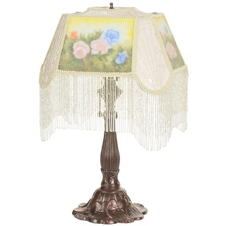 18 Inch H Reverse Painted Roses Fabric With Fringe Accent Lamp
