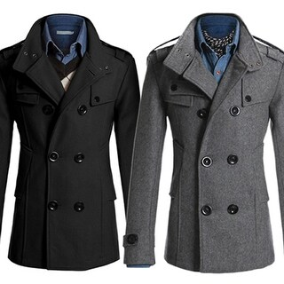 Men's Fashion Slim Long Trench Coat Windbreaker Lapel Double-breasted Jacket