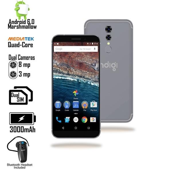 Indigi Unlocked 4G LTE 5.6-inch Android 6 QuadCore SmartPhone (Fingerprint Unlock + DualSIM Slots + Bluetooth Headset) Black