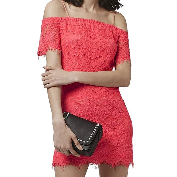 281312dc91bb Shop TopShop NEW Pink Coral Women s Size 8 Sheath Lace Off-Shoulder Dress -  Free Shipping On Orders Over  45 - Overstock - 18375109