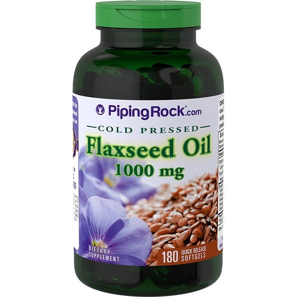 Piping Rock Flaxseed Oil Cold Pressed 1000 mg 180 Quick Release Softgels Dietary Supplement - green