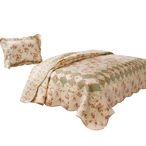 Denali 2 Piece Fabric Twin Size Quilt Set with Floral Prints, Multicolor