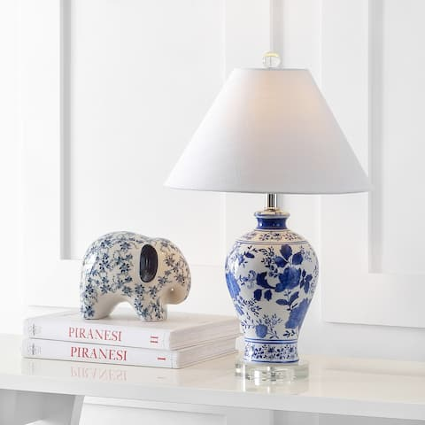 "JONATHAN Y Song 22"" Ceramic/Crystal Floral LED Table Lamp, Blue/White"
