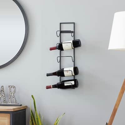 Black Metal Industrial Wine Holder Rack 25 x 6 x 5 - 6 x 5 x 25