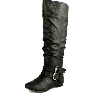 Nature Breeze Womens Vickie-20 Flat Faux Leather Slouch Knee High Boots - Black