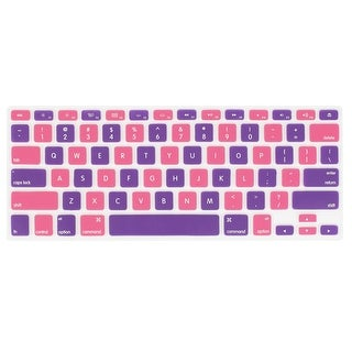 """Unique Bargains Silicone Protective Keyboard Skin Film Pink Purple for Apple MacBook Air 13.3"""""""