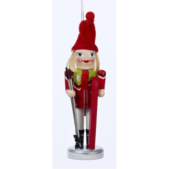 """6"""" Wooden Nutcracker Ski Girl Wearing Red Christmas Ornament"""