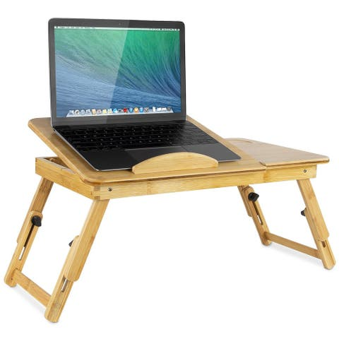 Mount-It! Laptop Bed Tray with Tilting Top and Pullout Storage Drawer & Adjustable Breakfast Table with Foldable Design