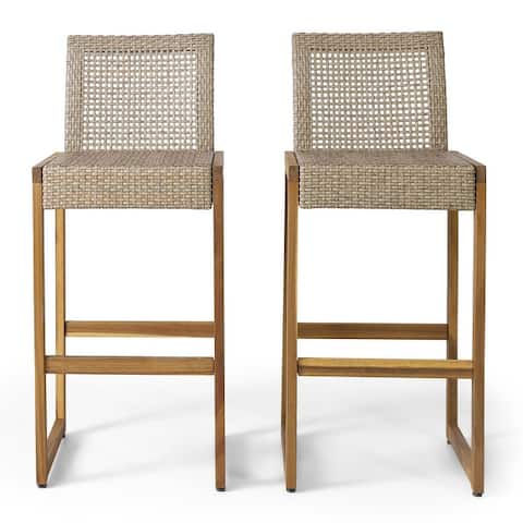 Elon Outdoor Wicker Barstools (Set of 2) by Christopher Knight Home