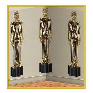 Pack of 6 Golden Award Male Statuettes Photo Backdrop Party Decorations 30'