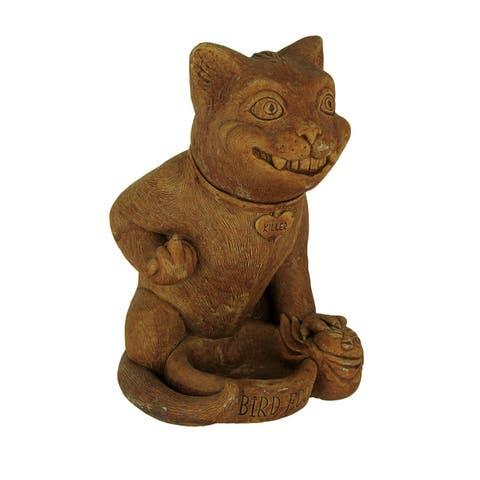 Designer Stone Rude Killer Kitten Rustic Brown Concrete Bird Feeder Statue - 9 X 7 X 5.5 inches
