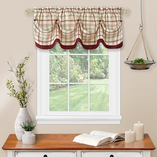 Link to Tattersall Tuck Valance with Buttons - 58x14 Similar Items in Window Treatments