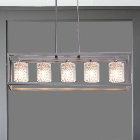 "Porch & Den Savoy Cut Crystal 5-light Linear Chandelier - 36 x 8 x 8"""
