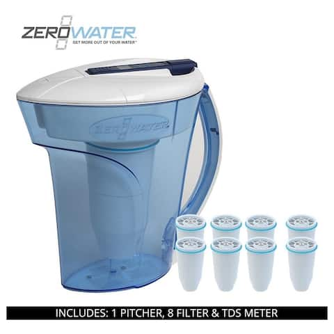 ZeroWater 10 Cup Ready-Pour Pitcher, 9 Filters & TDS Meter, ZD-010RP