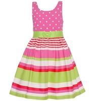 Bonnie Jean Little Girls Pink Green Stripe Polka Dot Print Casual Dress