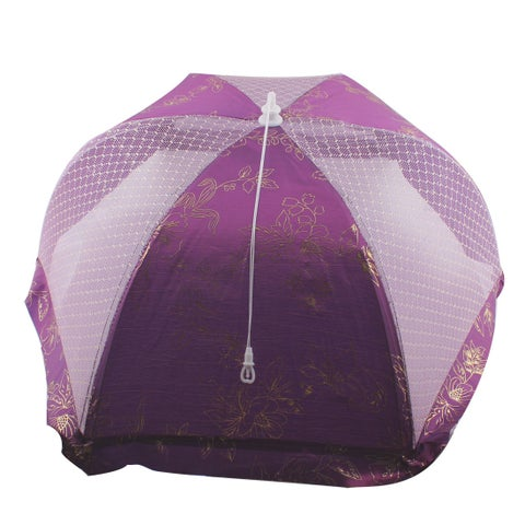 Kitchen Metal Frame Nylon Mesh Hexagon Design Foldable Food Cover Purple