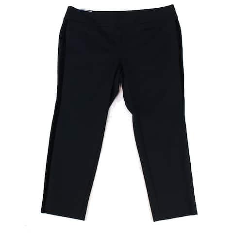 Charter Club Women's Black Size 20W Plus Velvet Trim Pants Stretch