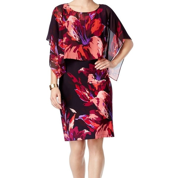 SLNY NEW Red Black Women's Size 14 Chiffon Popover Sheath Cape Dress