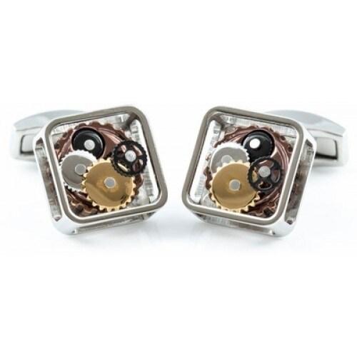 Silver Gears Steampunk Cufflinks