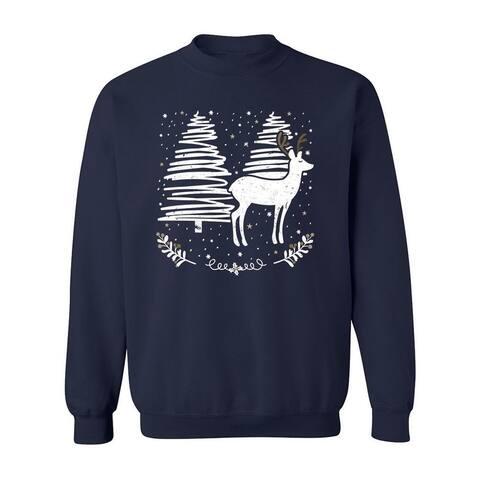 Snowy Reindeer In White Sweatshirt Women's -GoatDeals Designs