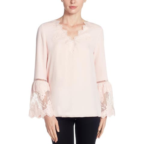 CATHERINE CATHERINE MALANDRINO Womens Pullover Top Angel Sleeves Lace