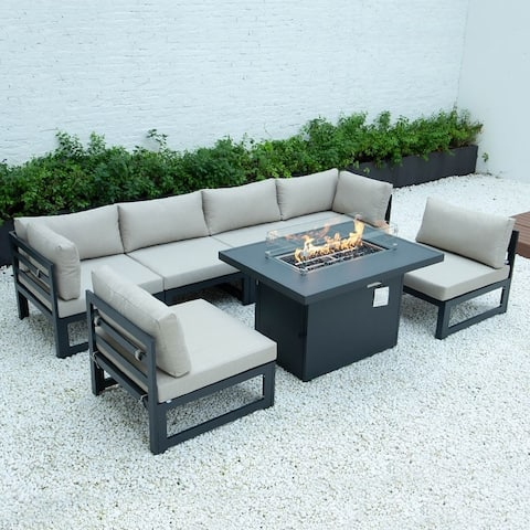 LeisureMod Chelsea 7-Piece Outdoor Sectional & Fire Pit Table Set