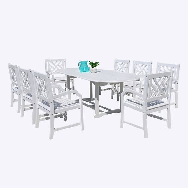 Vifah V1335set14 Bradley Acacia Dining Set Including Chairs And Dining Table White Overstock 21207841