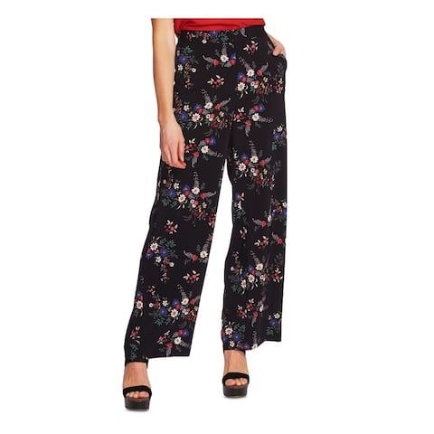 VINCE CAMUTO Womens Black Floral High Waist Pants Size 4
