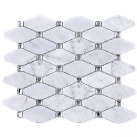TileGen. Long Diamond Shape Cyrstal Marble Mosaic Tile in White Carrara Floor and Wall Tile (10 sheets/11sqft.)