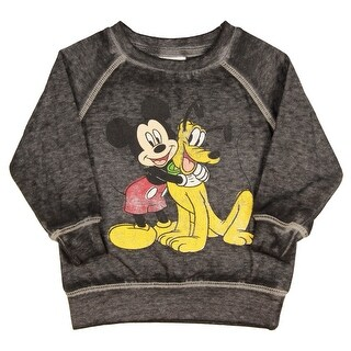 Disney Mickey Mouse And Pluto Toddler Little Boys' Distressed Pullover Top