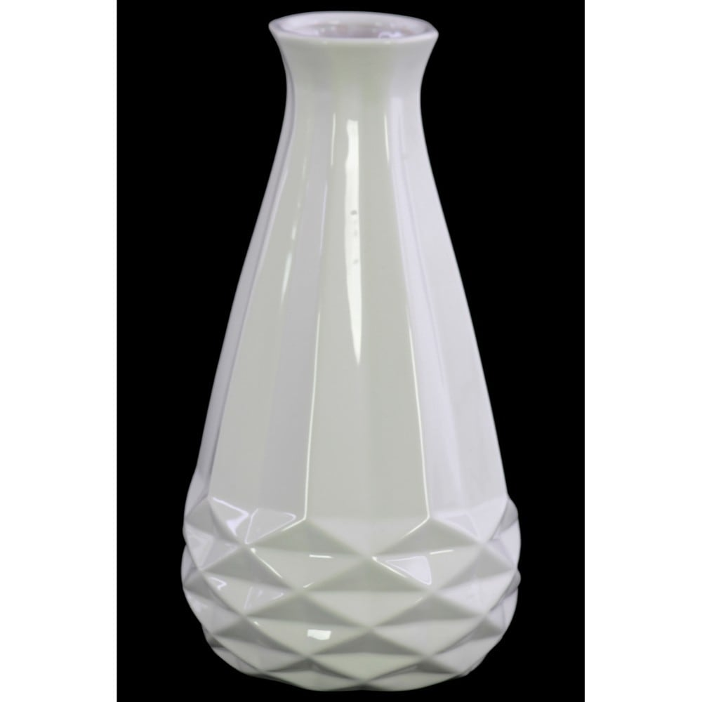Ceramic Bellied Round Vase with Geometric Pattern, Glossy White