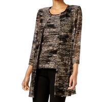 Kasper Black Beige Womens Size Small S Open Front Knitted Jacket